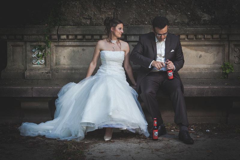photo couple originale marié-bière-mariage