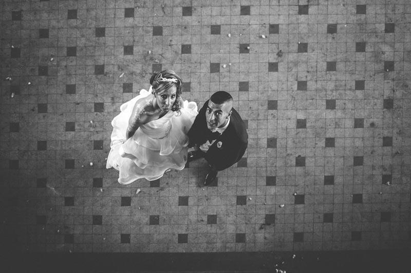 les mariés vu de haut par le photographe