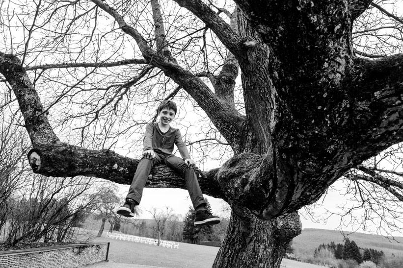 enfant sur une branche d'arbre