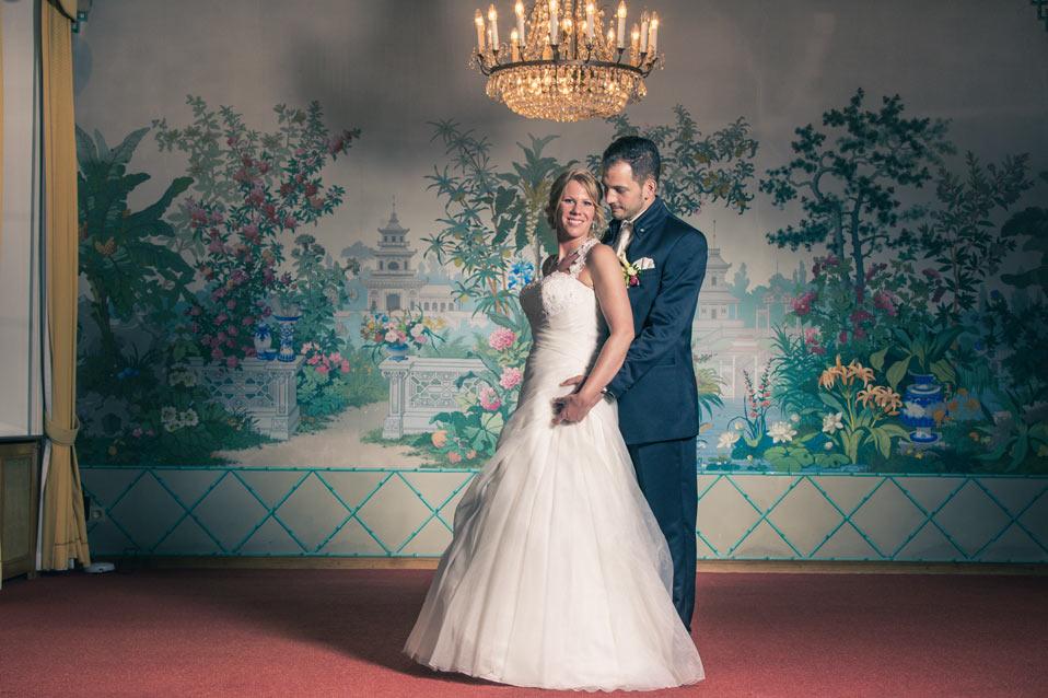 portrait glamour des mariés au chateau des sept fontaines