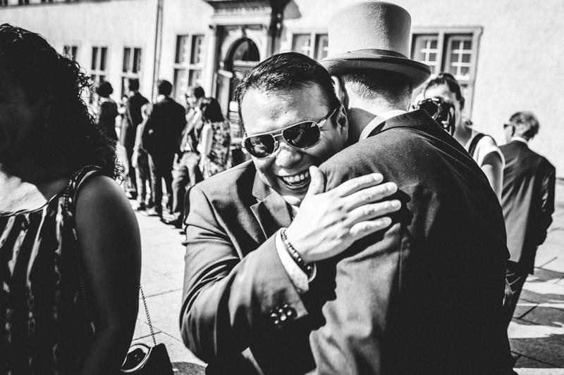 hugging the groom