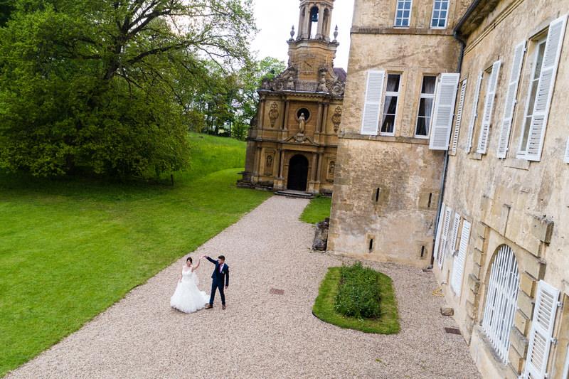 portrait des mariés au chateau de preisch